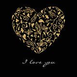 Golden texture ornate heart. Valentines Day Design card. Greeting card. Royalty Free Stock Photo