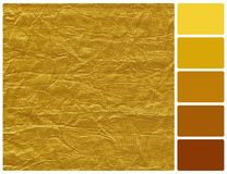 Golden texture with palette color swatches Stock Photography