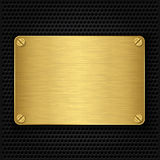 Golden texture plate with screws Royalty Free Stock Photo