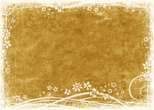 Golden textured background. Textured golden background with floral frame Royalty Free Stock Photos