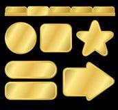 Golden textured buttons and menu Royalty Free Stock Photos