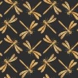 Golden textured dragonfly vector seamless pattern for textile design, wallpaper. Golden textured dragonfly vector seamless pattern for textile design, wallpaper Royalty Free Stock Photos