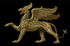 Golden textured embroidery griffin textile patch design. Fashion decoration ornament fabric print. Gold on black. Background legendary mythic heraldic character stock illustration