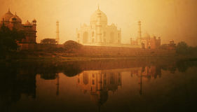 Golden Textured Picture Of Taj Mahal Scenery Stock Photos