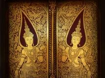 Golden Thai Ancient Door Royalty Free Stock Photography