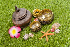 Golden Thai bowl with wooden bottle on green grass Stock Photo