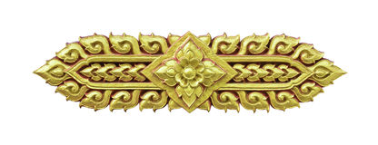 Golden Thai decorative pattern isolated on white background Stock Images