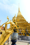 The golden Thai fairy bird on half human at Wat Phra Keaw Stock Images