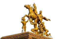 Golden thai god sculpture. Isolated on white background Stock Image