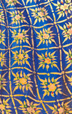 Golden Thai pattern on blue wall Stock Images