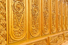 Golden Thai pattern close up tilted out Royalty Free Stock Photos