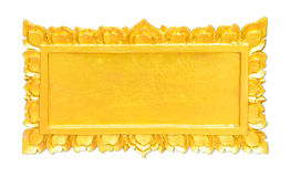 Golden Thai sculpture frame in Thai temple isolated on white Stock Photos