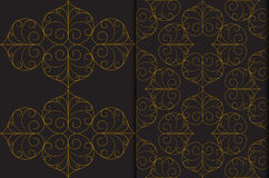 Golden Thai vintage seamless pattern vector abstract on black background Royalty Free Stock Photos