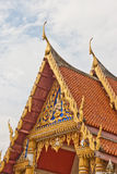 Golden Thailand Temple and Blue Sky Stock Photo