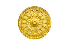 Golden Thammachak wheel was symbol of Buddhism Royalty Free Stock Photo