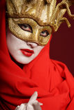 Golden theater mask Stock Image