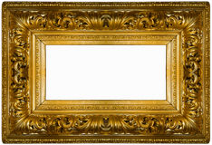 Golden thick frame. Gold square frame over white background Stock Images