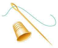 Golden Thimble, Needle & Thread Stock Photo