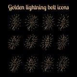 Golden thin line lightning bolts set Royalty Free Stock Photos