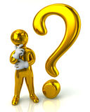 Golden thinking man and question mark. 3d illustration of golden thinking man and question mark Royalty Free Stock Images