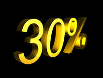 Golden thirty percent on black background 3d render. Sales financial concept Stock Photo