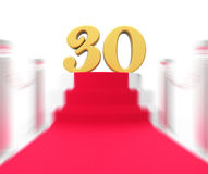 Golden Thirty On Red Carpet Displays Film Industry Anniversary E. Golden Thirty On Red Carpet Displaying Film Industry Anniversary Event Stock Photography