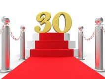 Golden Thirty On Red Carpet Shows Film Industry. Golden Thirty On Red Carpet Showing Film Industry Anniversary Event Royalty Free Stock Photo