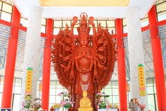 A Golden Thousand hands Quan Yin. In Thailand Royalty Free Stock Photo