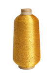 Golden thread. The big coil of brilliant gold threads on a white background Stock Images