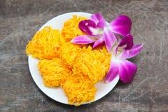 Golden threads, Thai dessert. Royalty Free Stock Photo