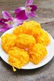 Golden threads, Thai dessert. Royalty Free Stock Image