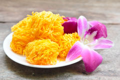 Golden threads, Thai dessert. Royalty Free Stock Photo