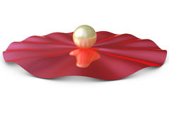 Golden three dimensional sphere on a red slab Stock Photo