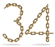 Golden three and four numbers Royalty Free Stock Photos