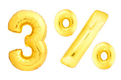 Golden three percent made of inflatable balloons Stock Photography
