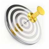Golden Thumbtack On Target Stock Image