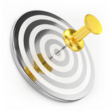 Golden Thumbtack On Target Stock Image