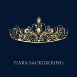 Golden Tiara. On blue background illustration Stock Image