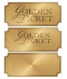 Golden Ticket Art Logo Stub coupon template. Elegant blank scroll award prize pass shiny gold vector illustration