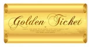 Golden ticket, Gift Certificate / Gift Voucher vector template design on gold scroll paper background stock illustration