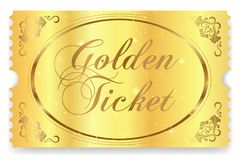 Golden ticket, Gold ticket tear-off vector template design with star golden background stock illustration