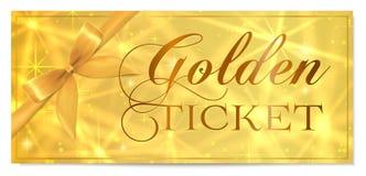 Golden ticket, Gold ticket (tear-off) vector template design with star golden background stock illustration