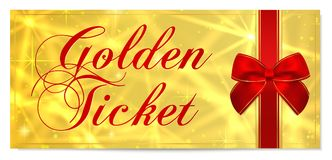 Golden ticket, Gold ticket tear-off vector template design with star golden background Royalty Free Stock Photos