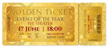 Golden ticket, golden token tear-off ticket, coupon with curve patter. Useful for any film festival, party, cinema, event, entertainment show, Cinema Ticket Royalty Free Stock Photography