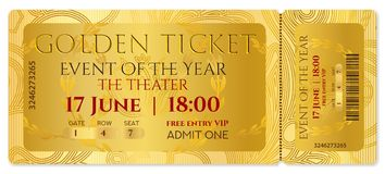 Golden ticket, golden token tear-off ticket, coupon with curve patter. Useful for any film festival, party, cinema, event, entertainment show, Cinema Ticket Stock Photos