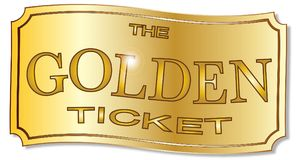 The Golden Ticket. A golden winner ticket over a white background royalty free illustration