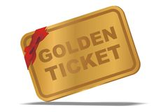 Golden ticket Royalty Free Stock Photography