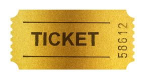 Golden ticket isolated on white with clipping path Stock Photos