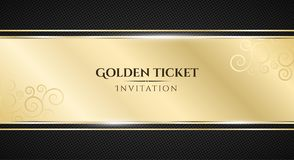 Golden ticket. Luxurious invitation. Golden ribbon banner on a black background with a pattern of mesh. Realistic gold strip with. An inscription. VIP royalty free illustration