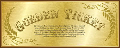 Golden Ticket. Shiny golden ticket design template vector illustration